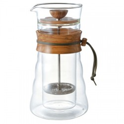 Hario Cafe Press Double Glass - Olive Wood - 400ml
